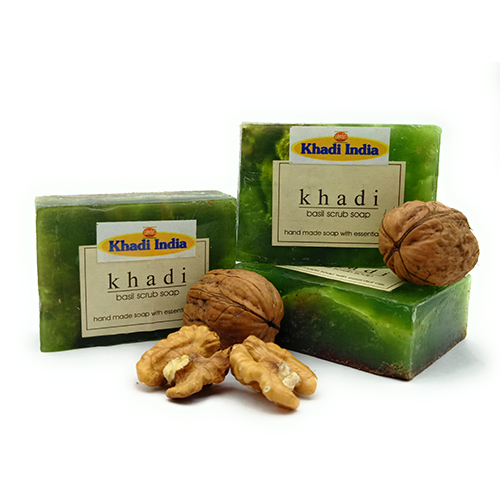 Khadi Basil Scrub Soap Pack of 3 (125 gm Each)