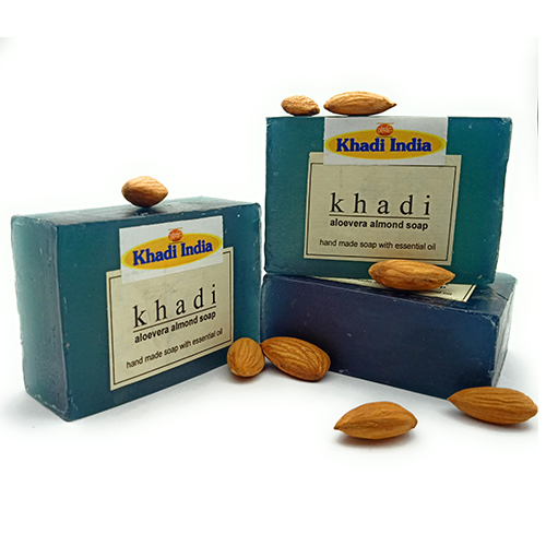 Khadi India Aloe Vera Almond Soap Pack of 3 (125 gm Each)