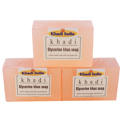 Khadi India Khus Soap Pack of 3 (125 gm Each)