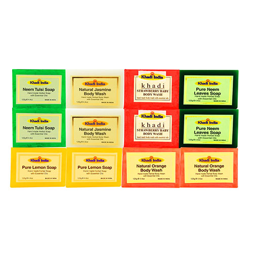 Khadi India Pack of 12 Soap Combo (125 gm Each)