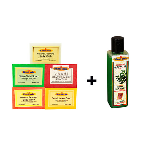 Khadi India Pack of 5 Soap Combo + 1 Neem Face Wash worth 190 Free