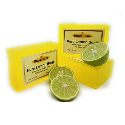 Khadi India Pure Lemon Soap  Pack of 3 ( 125 gm Each)