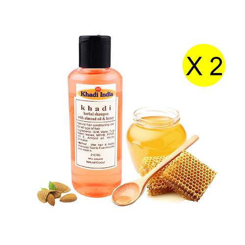 Khadi India Herbal Shampoo with Almond Oil & Honey 210 ml ( Pack of 2)